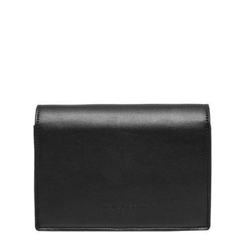 Corrine Metal Bar Flap Shoulder Bag - Black - Reina Valentina