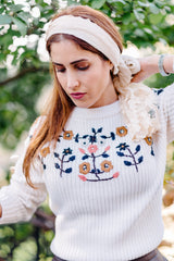 emy floral embroidered cable knit sweater by lucca couture