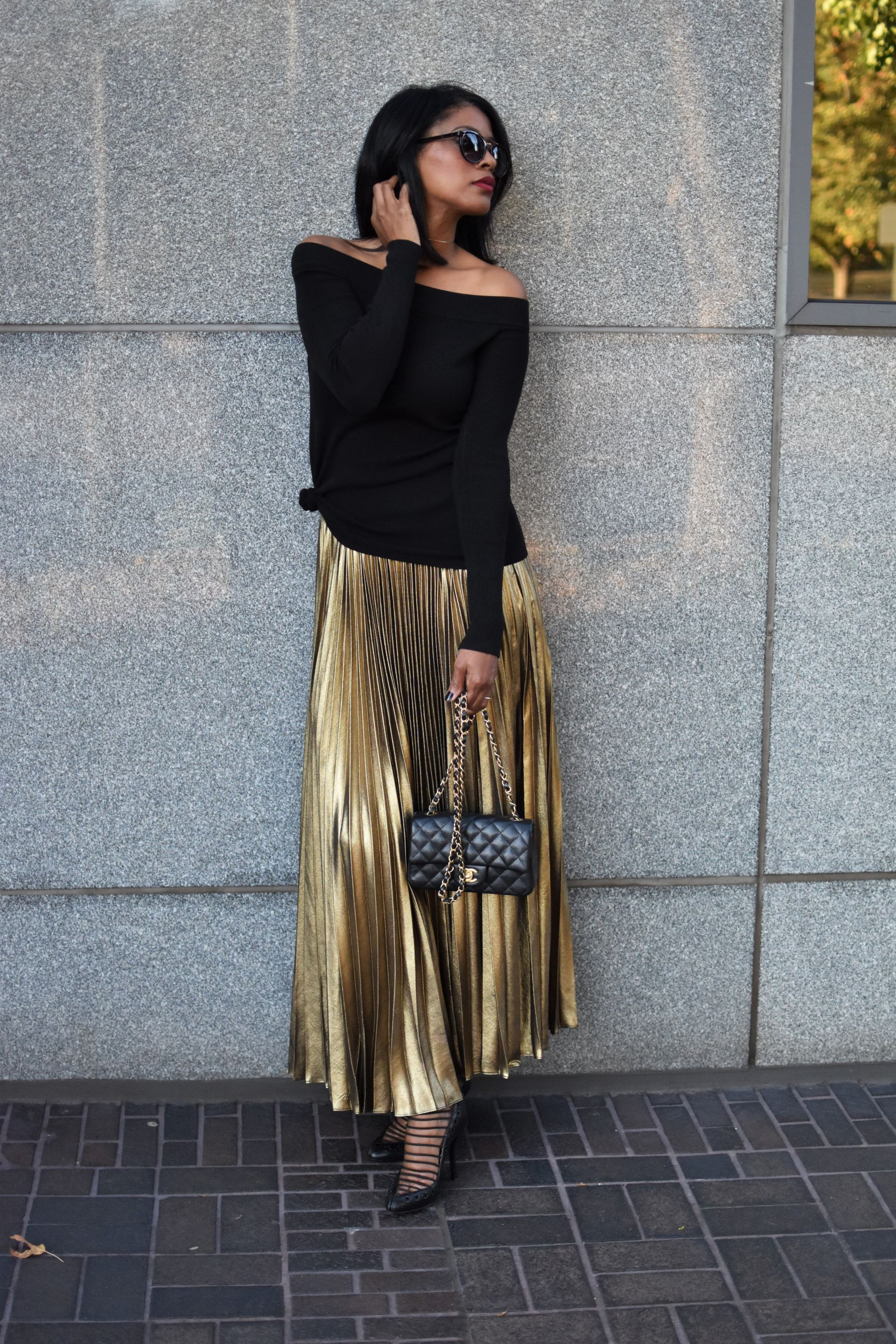 Gold Pleated Skirt - Reina Valentina