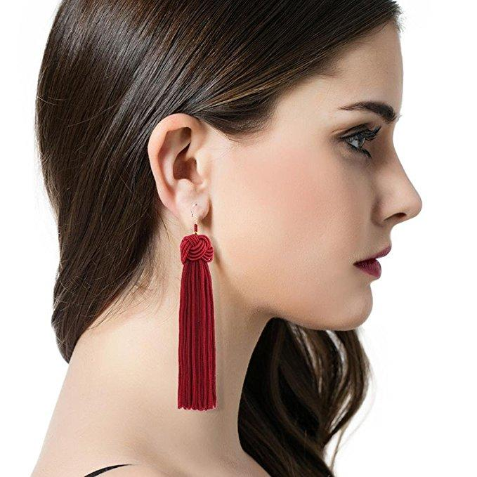 Red Tassel Earrings - Reina Valentina