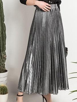 Silver Pleated Skirt - Reina Valentina