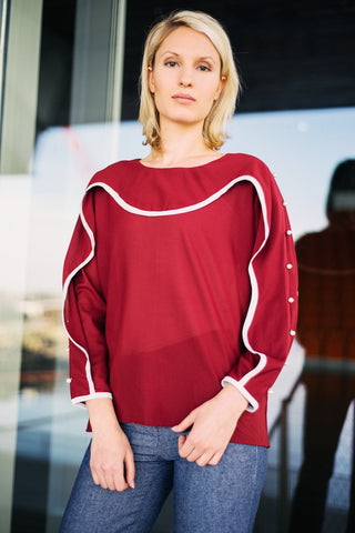 Wavelength Blouse - Red - Reina Valentina