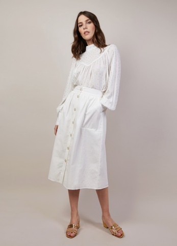 Textured White Skirt - Reina Valentina