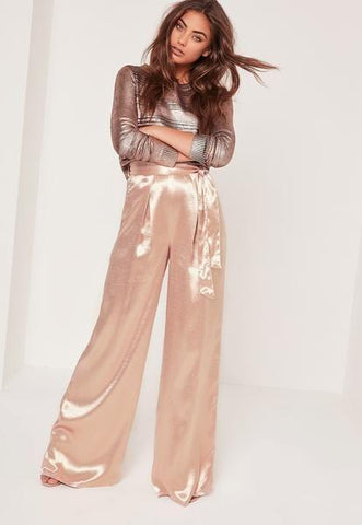 Zinnia Satin Wide Leg Pants