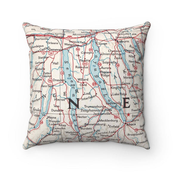 Finger Lakes Map Pillow