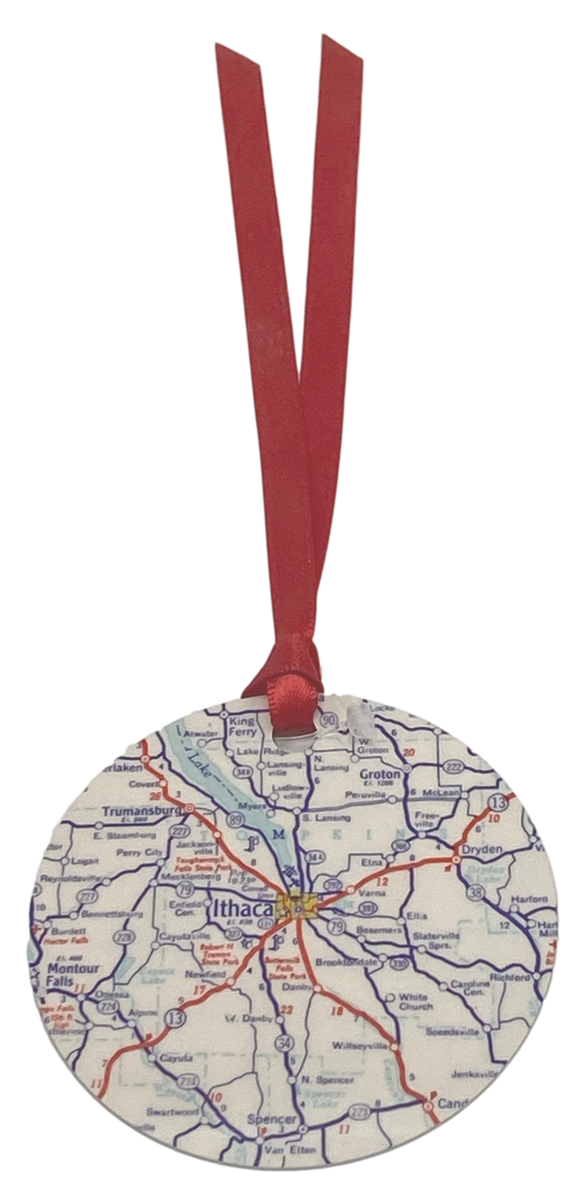 Ithaca Map Ornament