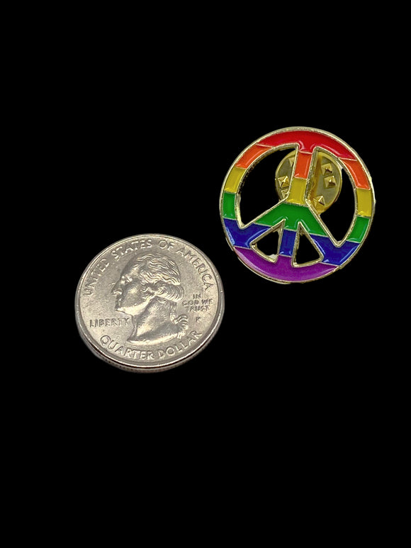 Rainbow Pride Peace Symbol Pin