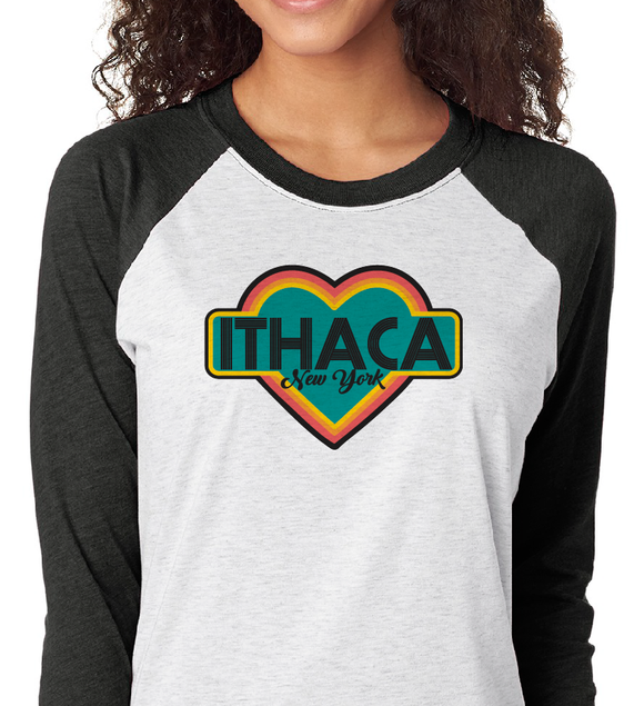 3/4 Baseball Jersey (Adult Small) - Ithaca Retro Heart