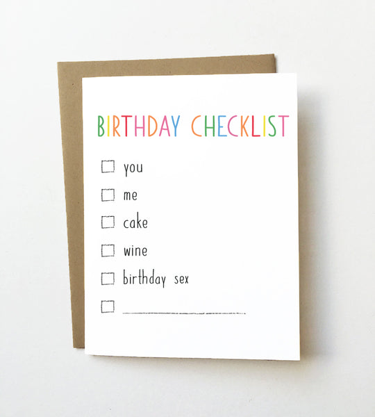 Birthday checklist - Birthday card - NEW