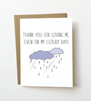 Cloudy days - Thank you love card - NEW