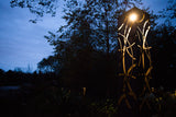 Corten Steel Garden Lantern with Low Voltage LED Light, Spherical Design