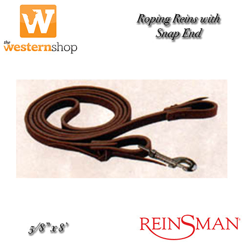 "Reinsman Roping Reins 5/8"" With Snap End"