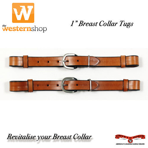 "Circle Y 1"" Breast Collar Tugs - Harness Leather"
