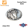 Stars & Stripes Antique Silver Horse Head Western Buckle