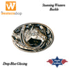 Stars & Stripes Glazed Horse Head Western Buckle