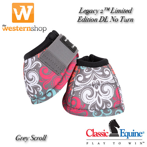 Classic Equine DL No Turn™ 'Grey Scroll' Bell Boot