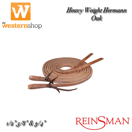 Reinsman Hermann Oak Harness Leather Split Reins - Pre Oiled