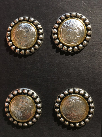 Austin Accent Antique Silver and Gold Detail Number Concho's - 1""