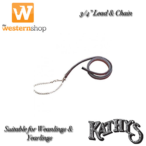 "Kathy's Show Equipment 3/4"" Lead & Chain - Yearling & Weanlings"