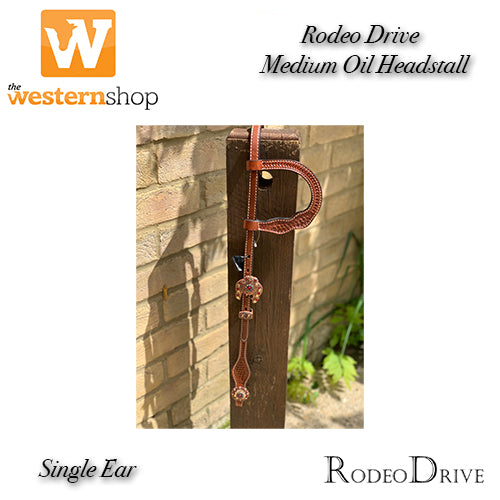 TWS Single Ear Headstall with Rodeo Drive Accents in Champagne, Jet & Ruby
