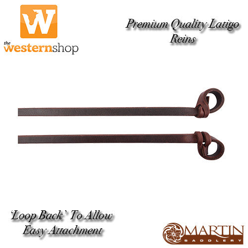 Martin Saddlery Premium Latigo Leather Split Rein - Loop Back