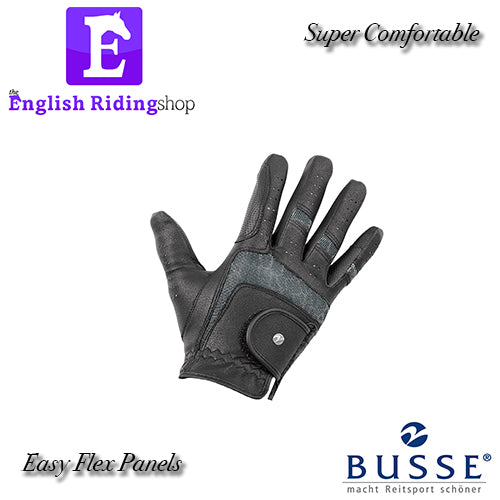 Busse Black Faux Leather Riding Gloves with Silver joints