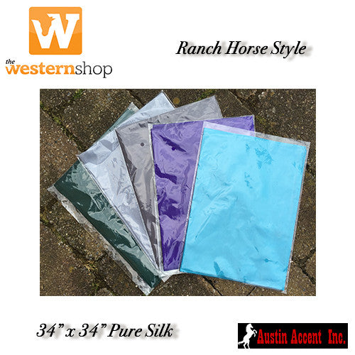 Western 'Wild Rag' Silk Scarves - Solid Colours