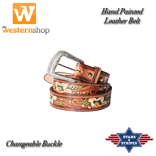 "Stars & Stripes ""Painted"" Leather Belt"
