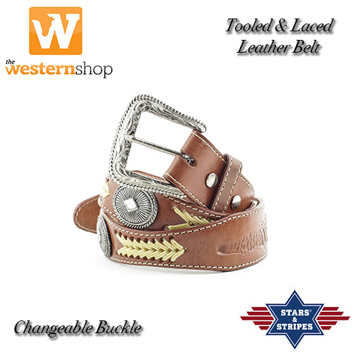 "Stars & Stripes ""Tooled & Laced"" Leather Belt"