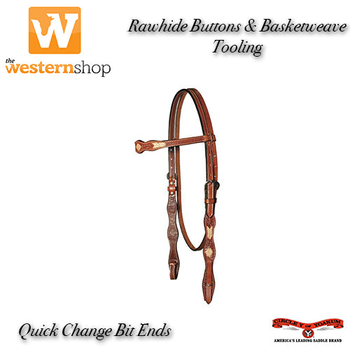 Circle Y Rawhide Buttons & Basketweave Tooled Browband Headstall