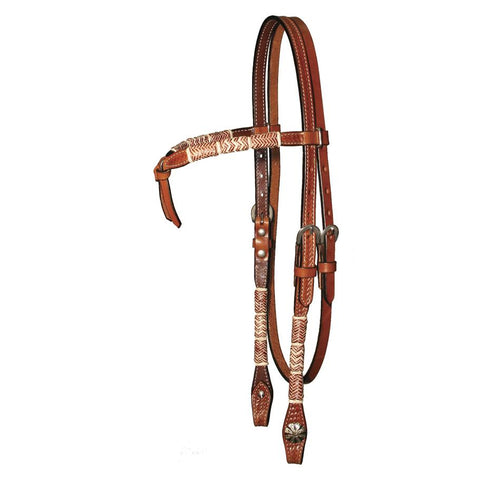 "Circle Y ⅝"" Basketweave Tooled & Rawhide Futurity Browband"