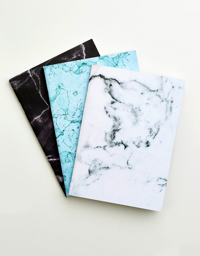 Set of 3 Marble Notebooks A6