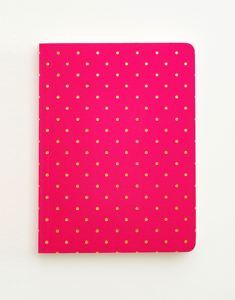 Magenta & Gold Polka Dot Notebook A6