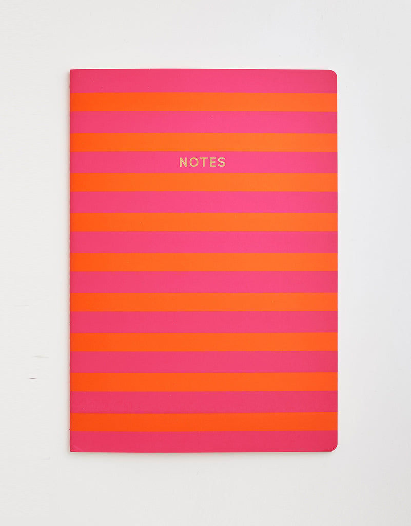 Pink & Orange Stripe Notebook A4