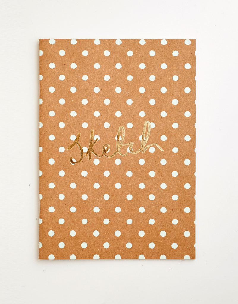 Kraft/Green Polkadot Screen Printed Notebook