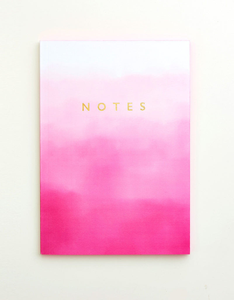 Pink Ombre Edge Painted Notebook A5