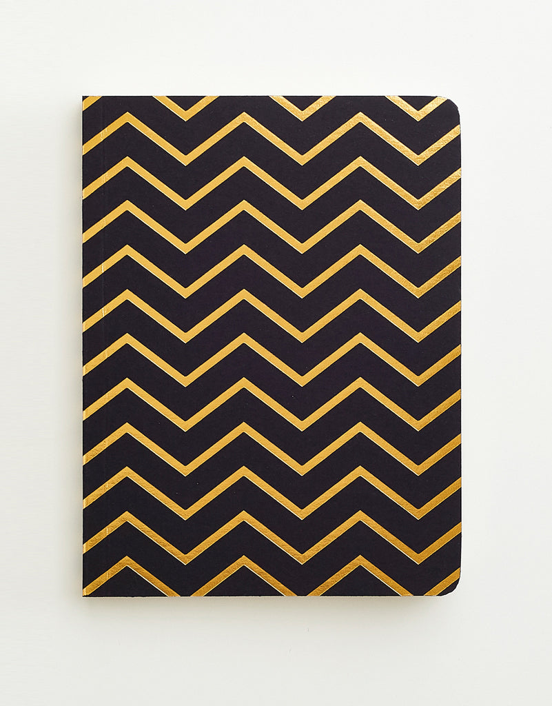 Black & Gold Chevron Notebook A6