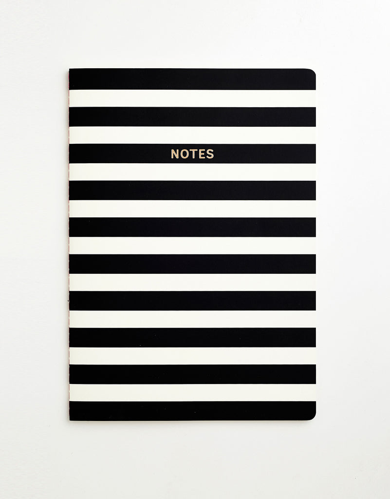 Black & White Stripe Notebook A4