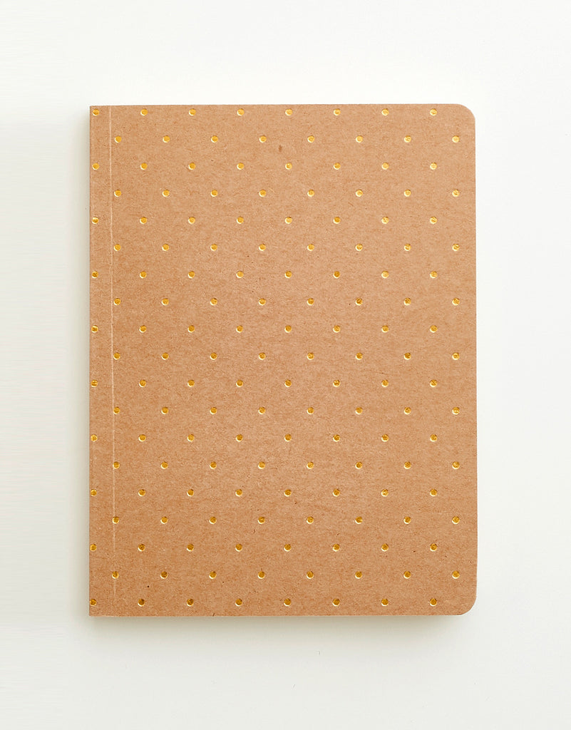 Kraft & Gold Polkadot Notebook A6