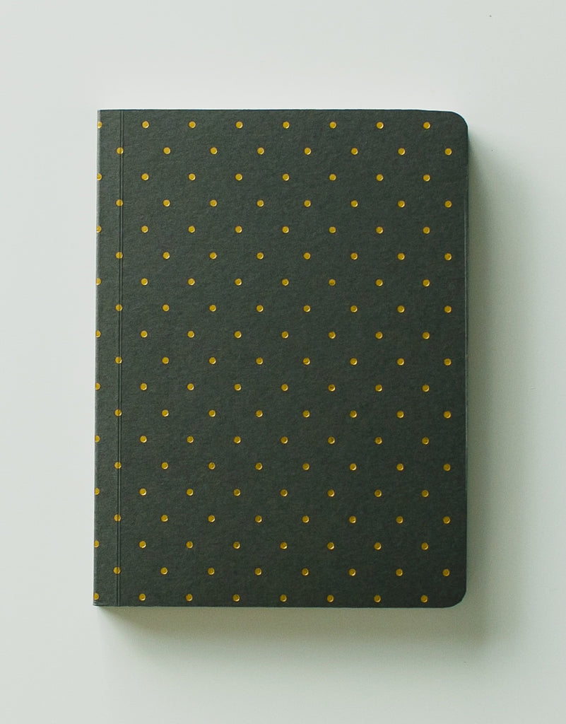 Taupe & Gold Polkadot Notebook A6