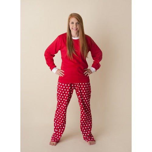 Adult Christmas Pajamas - White Polka Dots or Plaid - Ciao Bella Boutique