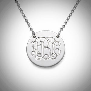 Monogram Disc Necklace - Silver, Rose Gold, or Gold - Ciao Bella Boutique