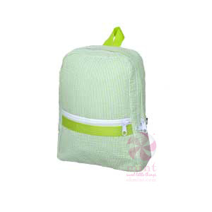 Small Backpack - Lime Seersucker - Ciao Bella Boutique