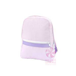 Small Backpack - Pink/Purple Seersucker - Ciao Bella Boutique