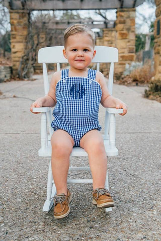 Unisex Sunsuit - Navy Gingham - Ciao Bella Boutique