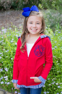 Girls Ruffle Jacket - Red & Navy - Ciao Bella Boutique