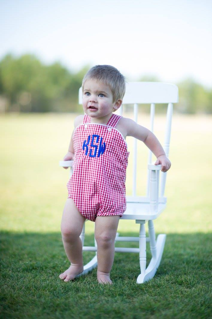 Unisex Sunsuit - Red Gingham - Ciao Bella Boutique