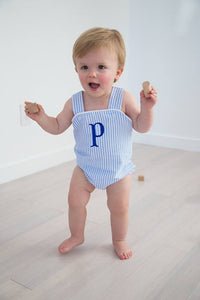 Unisex Sunsuit - Blue Seersucker - Ciao Bella Boutique