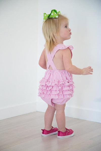 Girls Ruffle Sunsuit - Pink - Ciao Bella Boutique