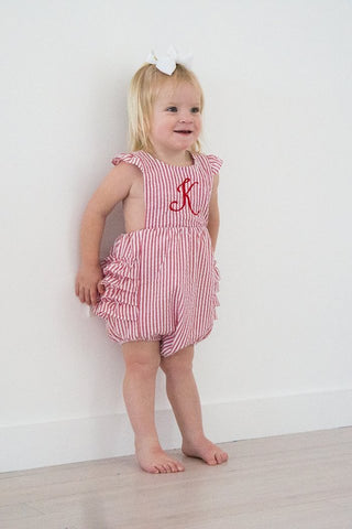 Girls Ruffle Sunsuit - Red - Ciao Bella Boutique